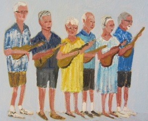 """Ukulele Players Club"" an Original Oil Painting by Diana Crow www.DianaCrow.com"
